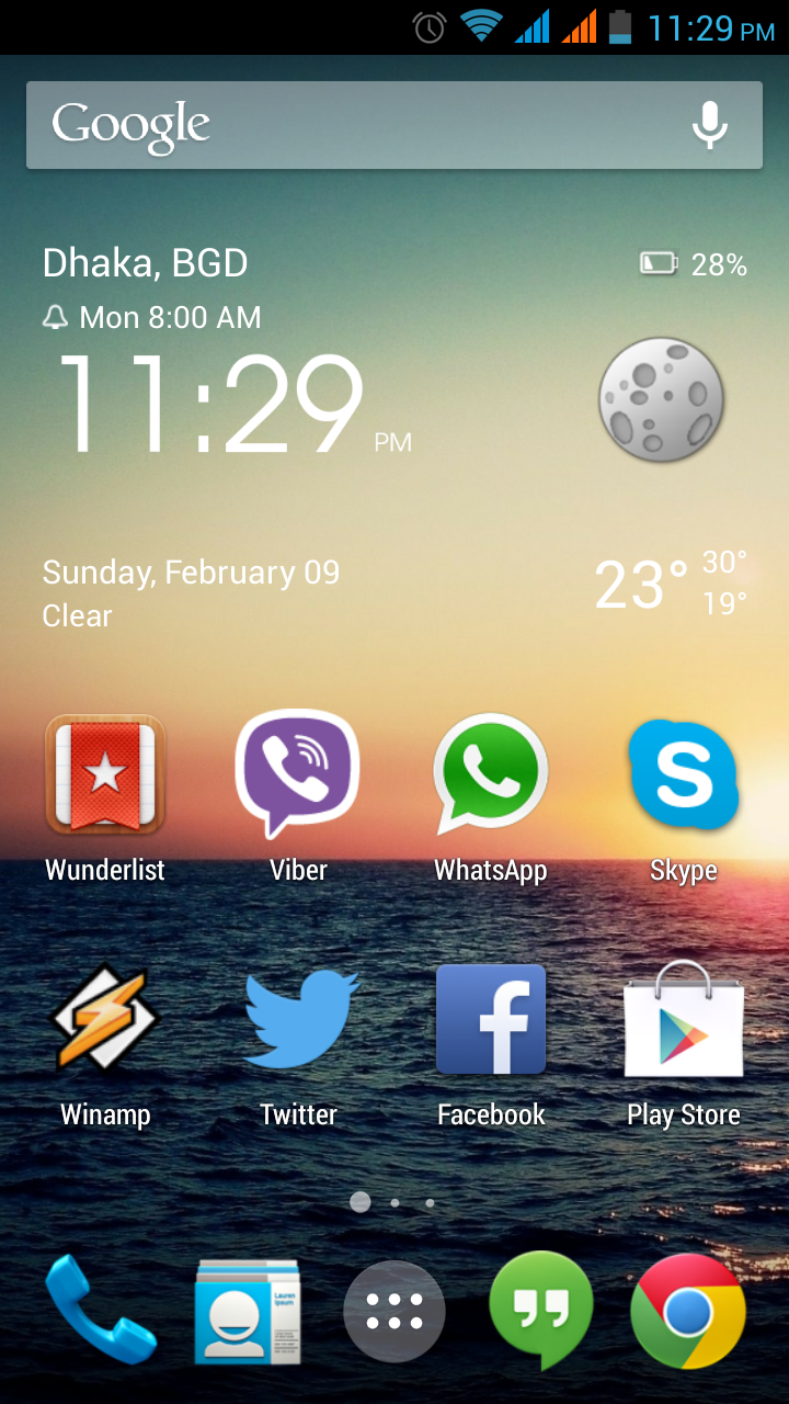 Google Now Launcher running on Android phone